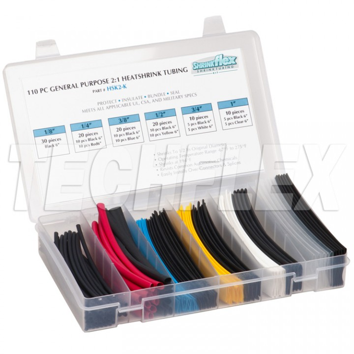 Techflex HSK2-K Комплект термоусадки Shrinkflex 2:1, кількість 110 шт., довжина 15 см, 6 розмірів, кольорова